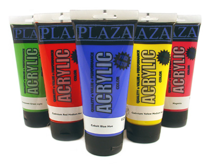 Buy acrylic paints.    Image taken from http://www.plazaart.com copyright 2010.