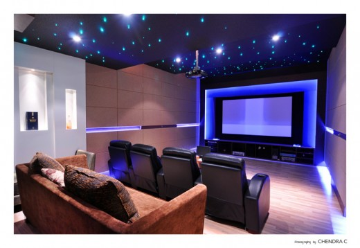 Home theater with great lighting