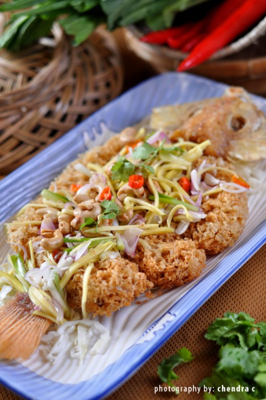 Crispy fish meat with salad