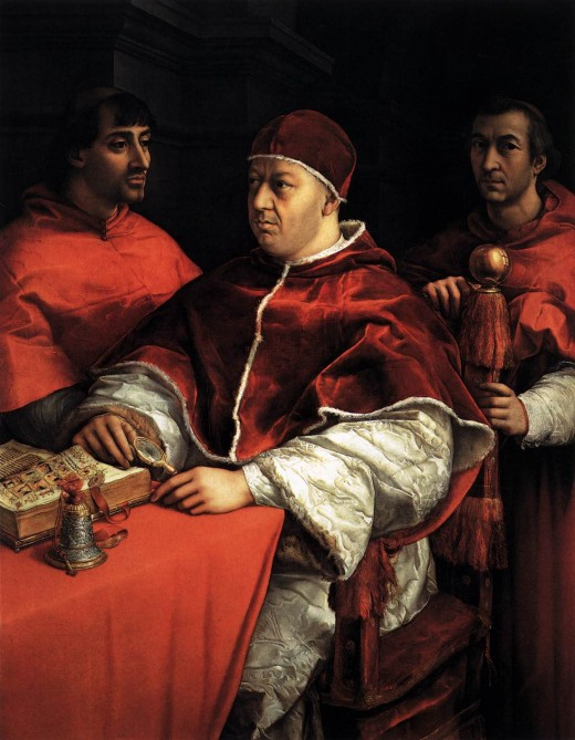 POPE LEO X WITH TWO CARDINALS AS PAINTED BY RAPHAEL IN 1579