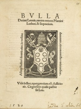 PAPAL BULL AGAINST MARTIN LUTHER