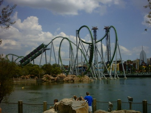Hulk Rollercoaster in Islands of Adventure theme park in Orlando, Florida.