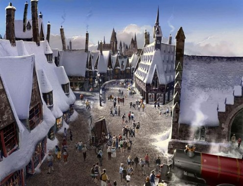 Artist's representation of the Hogsmeade's Village attraction.