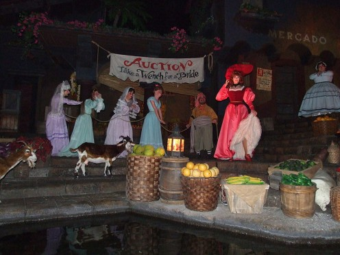 The 'Wenches Auction' scene at Pirates of The Caribbean.