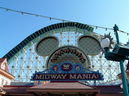 Entrance to Toy Story Midway Mania! at Disney's California Adventure.