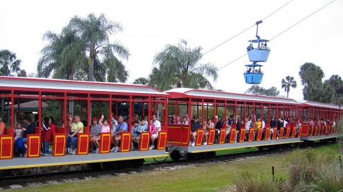 The Serengeti Express train and Skyride at Busch Gardens.