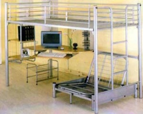 ...with a pull-out chaise lounge and top bunk area, as well a computer and storage racks.