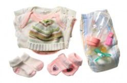 Baby essentials that you will be attaching to the diaper wreath.