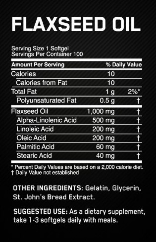 Flaxseed oil serving size, nutritional contents, suggested use