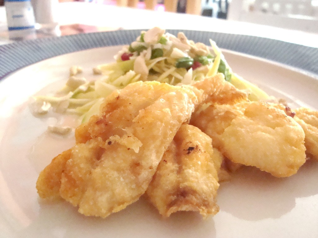 Thai Style Golden Fried Fish with Spicy Mango Salad Recipe