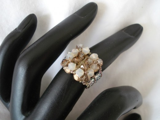 One of my gorgeous crystal rings the four flower crystal ring, see the designs in Swarovski Crystal Ring patterns.