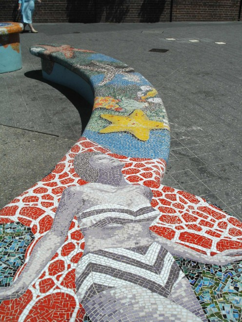 1950s Bikini Girl Mosaic on Public Seating.  Bondi Beach, Sydney.