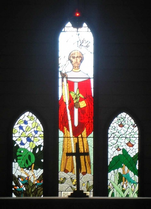Stained Glass in a Tropical Church. Kuranda, Qld.