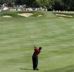 Tiger Woods taking a second shot out on the fairway