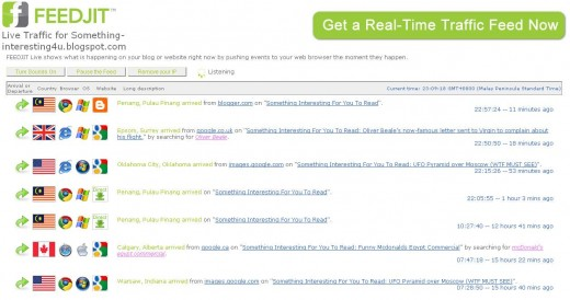 Blogger Plugin, Feedjit Live Traffic Feed