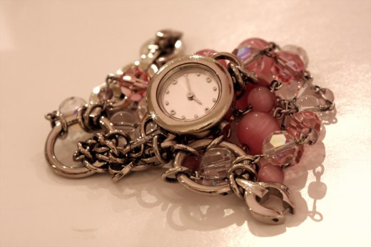 An example of a women's boho watch.  The beads and the metal give is a bohemian flavor, even though it is modern looking.