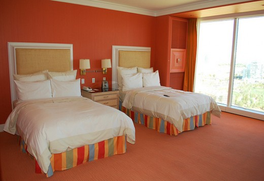 Wynn Las Vegas hotel room shown with 2 beds