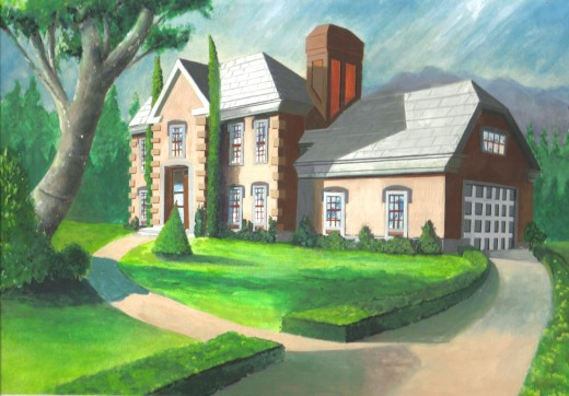 Watercolor of a house in Justin's mind, in 1995.