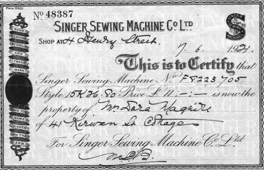 Singer Sewing Machine receipt 1921 Dublin