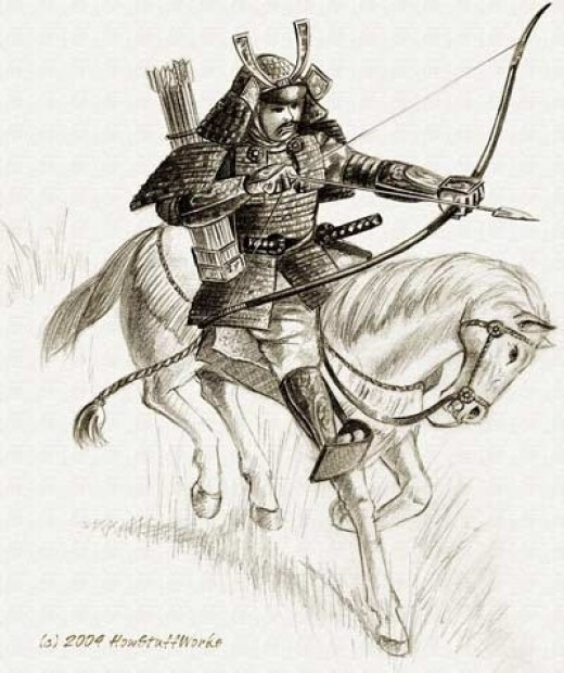 A samurai warrior on horseback. Horsemanship, archery, and other important martial arts were key in a warrior's education at this time.
