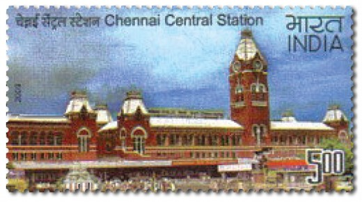 Chennai Central Railway Station on Indian Postage Stamp