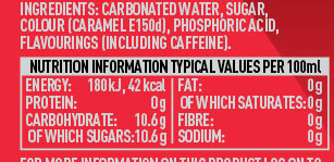 Nutrition information/label claim on fizz drinks