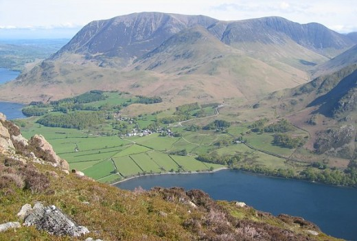 Grasmoor. Over looks The village of buttermere is situated between the Buttermere lake on the right and Crummock Water on the left. Photograph courtesy of Ann  Bowker.