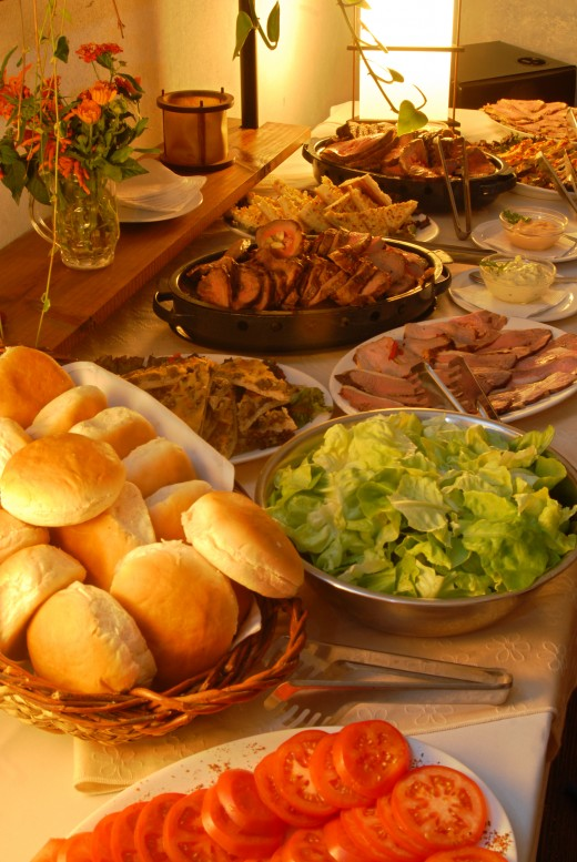 table with delicious food from Dreamstime.com