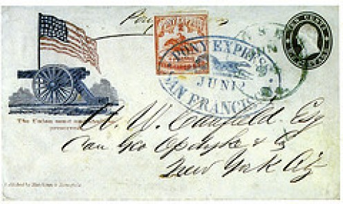 A Letter stamped for the Pony Express.