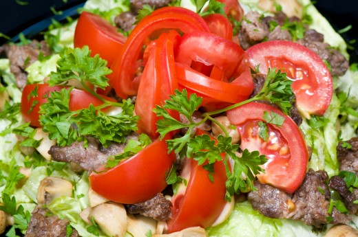Veggie Salad with Grilled Meat and Mushroom from Dreamstime.com