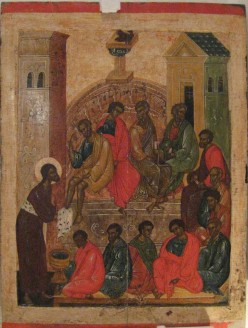 Christ washing the feet of the Apostles. Icon of Pskov school. From Wikipedia