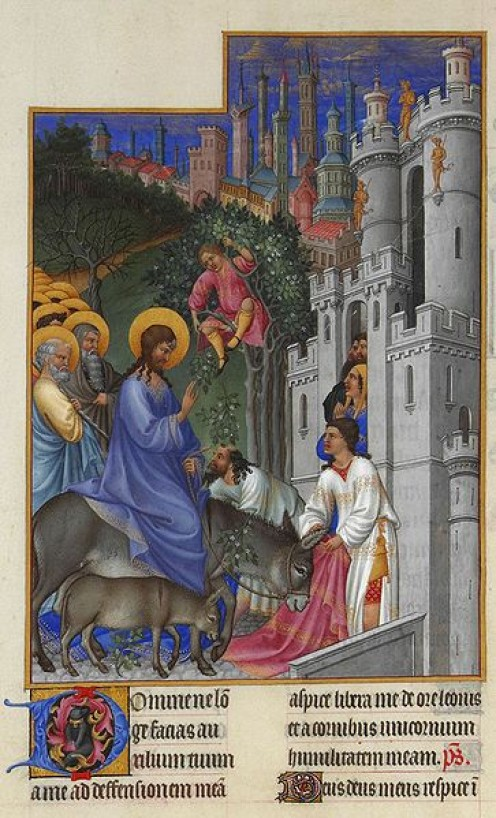 The 'Palm Sunday' entry into Jerusalem. - Les Tres Riches Heures du duc de Berry, Folio 173v - The Entry into Jerusalem the Muse Cond, Chantilly.