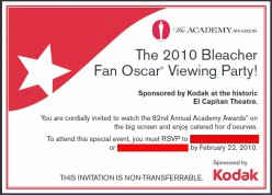 Bleacher Fan Invitation to be presented for entry