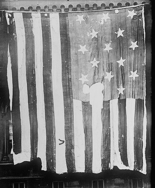 """The 15-star, 15-stripe """"Star Spangled Banner Flag"""" which inspired the poem."""