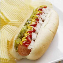 A hot dog with all the fixings!