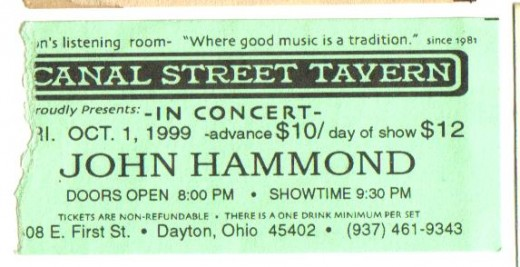 Acoustic blues man John Hammond. I've seen John about a half dozen times.