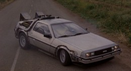 The Back to the Future DeLorean with time travel modifications