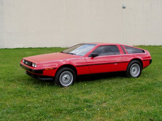 A red Delorean DMC-12. This WAS an original factory color, along with blue (an of course regular stainless steel)