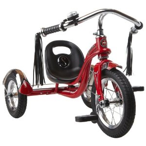 This tricycle comes in red and pink