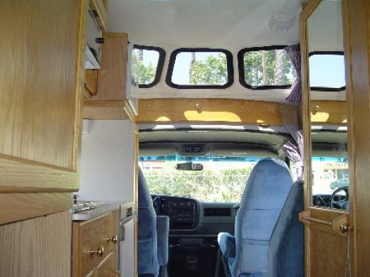 Standard Van interior Roof Windows on Roadtrek Motorhome
