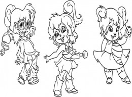 Alvin and the Chipmunks Kids Coloring Pages Chipettes Free Colouring Pictures - Chipettes
