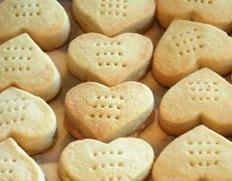 Heart-shaped shortbread cookies from byfallon.com