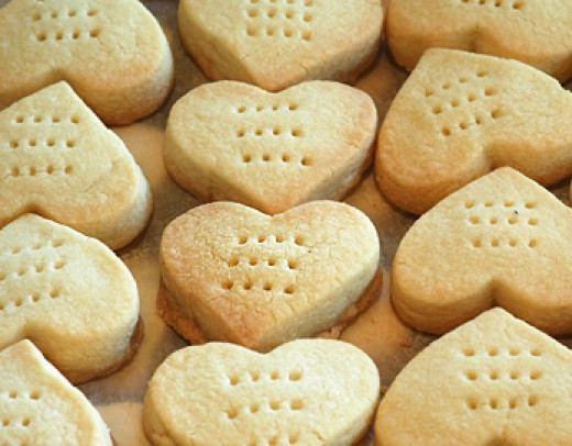 Heart-shaped shortbread cookies from byfallon.com