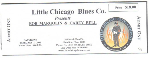 "Blues legends ""Steady Rollin'"" Bob Margolin and harpist Carey Bell."