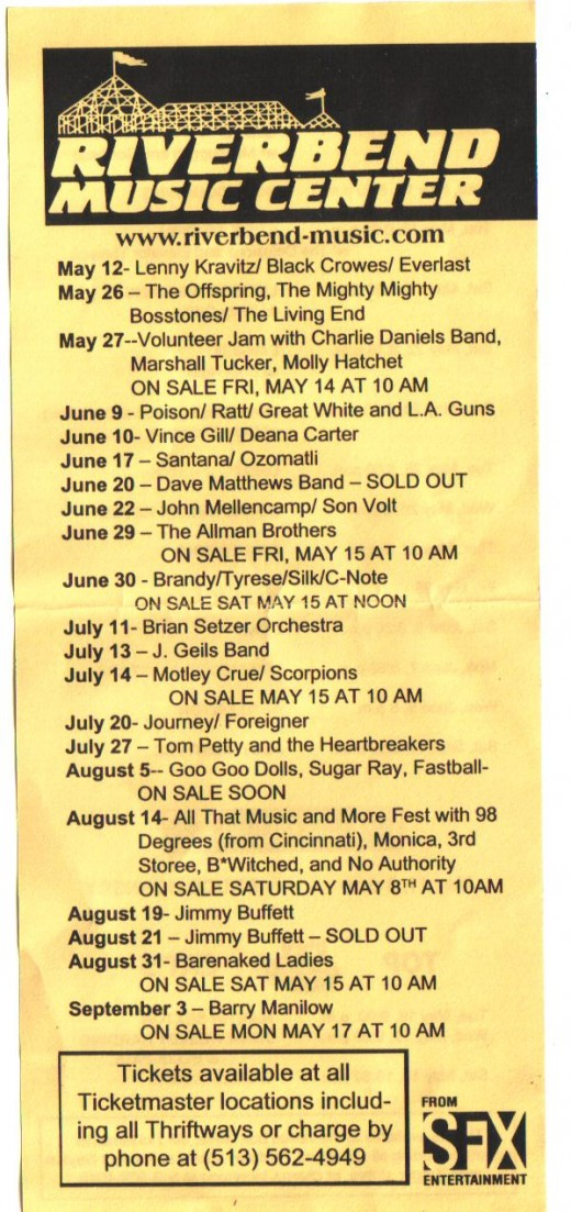 Lineup for Riverbend Music Center from several years ago.