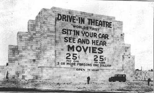 The first drive-in theater in Camden, NJ