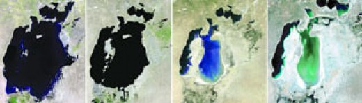 SATELLITE IMAGE OF ARAL SEA