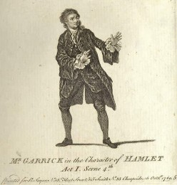 David Garrick (17171779), producer and actor, produced his own version of Shakespeare's 'Hamlet' in Drury Lane.