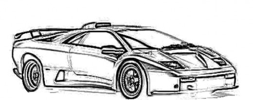 Classic Sport Cars Kids Coloring Pages with Free Colouring Pictures to Print  - Ferrari Diablo
