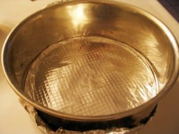 Wrap the springform pan with foil.